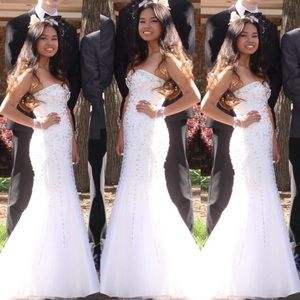 White Beaded Strapless Mermaid Prom Dress